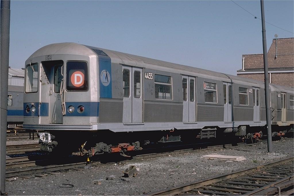 (210k, 1024x684)<br><b>Country:</b> United States<br><b>City:</b> New York<br><b>System:</b> New York City Transit<br><b>Location:</b> Coney Island Yard<br><b>Car:</b> R-40M (St. Louis, 1969)  4455 (ex-4255)<br><b>Photo by:</b> Steve Zabel<br><b>Collection of:</b> Joe Testagrose<br><b>Date:</b> 4/18/1978<br><b>Viewed (this week/total):</b> 5 / 4873