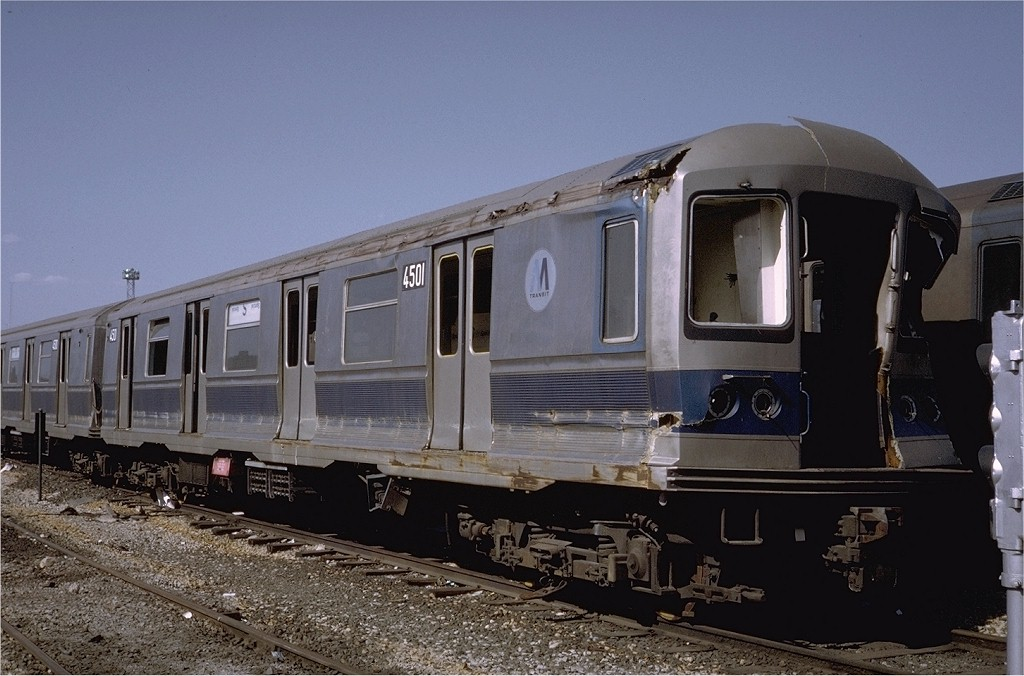 (181k, 1024x676)<br><b>Country:</b> United States<br><b>City:</b> New York<br><b>System:</b> New York City Transit<br><b>Location:</b> Coney Island Yard<br><b>Route:</b> M<br><b>Car:</b> R-40M (St. Louis, 1969)  4501 (ex-4301)<br><b>Photo by:</b> Steve Zabel<br><b>Collection of:</b> Joe Testagrose<br><b>Date:</b> 4/23/1971<br><b>Viewed (this week/total):</b> 7 / 9470