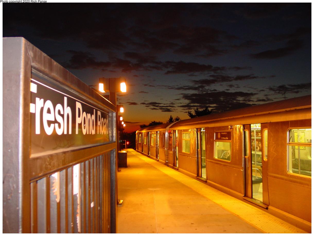 (64k, 820x620)<br><b>Country:</b> United States<br><b>City:</b> New York<br><b>System:</b> New York City Transit<br><b>Line:</b> BMT Myrtle Avenue Line<br><b>Location:</b> Fresh Pond Road <br><b>Route:</b> M<br><b>Car:</b> R-40M (St. Louis, 1969)  4502 <br><b>Photo by:</b> Richard Panse<br><b>Date:</b> 10/28/2002<br><b>Viewed (this week/total):</b> 4 / 6137