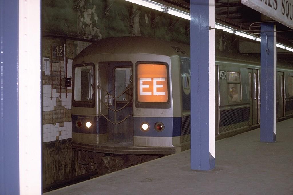 (166k, 1024x683)<br><b>Country:</b> United States<br><b>City:</b> New York<br><b>System:</b> New York City Transit<br><b>Line:</b> BMT Broadway Line<br><b>Location:</b> Times Square/42nd Street <br><b>Route:</b> EE<br><b>Car:</b> R-40M (St. Louis, 1969)  4502 (ex-4302)<br><b>Photo by:</b> Joe Testagrose<br><b>Date:</b> 2/9/1971<br><b>Viewed (this week/total):</b> 1 / 4748