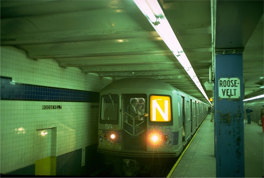 (149k, 1024x690)<br><b>Country:</b> United States<br><b>City:</b> New York<br><b>System:</b> New York City Transit<br><b>Line:</b> IND Queens Boulevard Line<br><b>Location:</b> Roosevelt Avenue <br><b>Route:</b> N<br><b>Car:</b> R-40M (St. Louis, 1969)  4505 (ex-4305)<br><b>Photo by:</b> Doug Grotjahn<br><b>Collection of:</b> Joe Testagrose<br><b>Date:</b> 10/21/1976<br><b>Viewed (this week/total):</b> 1 / 5832