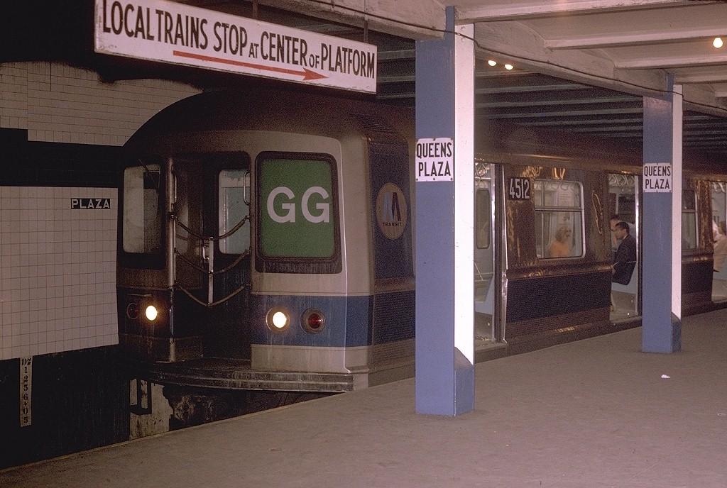 (217k, 1024x688)<br><b>Country:</b> United States<br><b>City:</b> New York<br><b>System:</b> New York City Transit<br><b>Line:</b> IND Queens Boulevard Line<br><b>Location:</b> Queens Plaza <br><b>Route:</b> GG<br><b>Car:</b> R-40M (St. Louis, 1969)  4512 <br><b>Photo by:</b> Joe Testagrose<br><b>Date:</b> 6/22/1970<br><b>Viewed (this week/total):</b> 1 / 4112