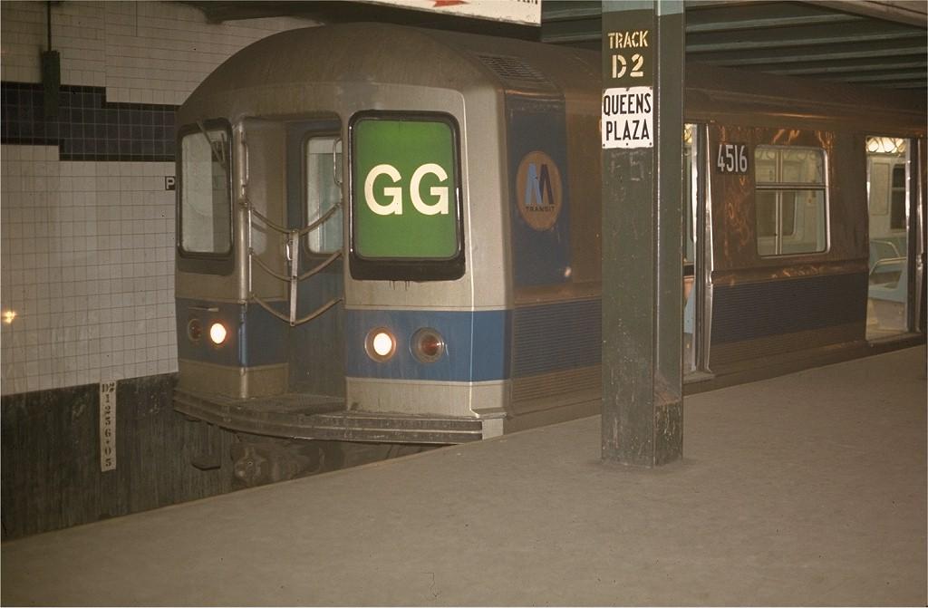 (147k, 1024x671)<br><b>Country:</b> United States<br><b>City:</b> New York<br><b>System:</b> New York City Transit<br><b>Line:</b> IND Queens Boulevard Line<br><b>Location:</b> Queens Plaza <br><b>Route:</b> GG<br><b>Car:</b> R-40M (St. Louis, 1969)  4516 (ex-4316)<br><b>Photo by:</b> Joe Testagrose<br><b>Date:</b> 5/20/1970<br><b>Viewed (this week/total):</b> 4 / 3862