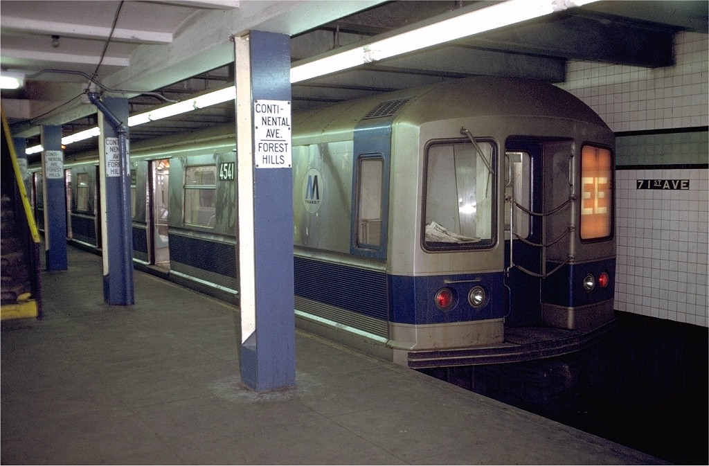 (188k, 1024x673)<br><b>Country:</b> United States<br><b>City:</b> New York<br><b>System:</b> New York City Transit<br><b>Line:</b> IND Queens Boulevard Line<br><b>Location:</b> 71st/Continental Aves./Forest Hills <br><b>Route:</b> EE<br><b>Car:</b> R-40M (St. Louis, 1969)  4541 (ex-4341)<br><b>Photo by:</b> Doug Grotjahn<br><b>Collection of:</b> Joe Testagrose<br><b>Date:</b> 12/6/1971<br><b>Viewed (this week/total):</b> 6 / 6264