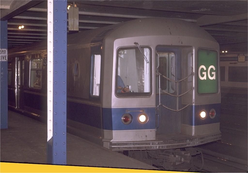 (162k, 1024x714)<br><b>Country:</b> United States<br><b>City:</b> New York<br><b>System:</b> New York City Transit<br><b>Line:</b> IND Queens Boulevard Line<br><b>Location:</b> 63rd Drive/Rego Park <br><b>Route:</b> GG<br><b>Car:</b> R-40M (St. Louis, 1969)  4549 (ex-4349)<br><b>Photo by:</b> Joe Testagrose<br><b>Date:</b> 5/12/1970<br><b>Viewed (this week/total):</b> 2 / 8621