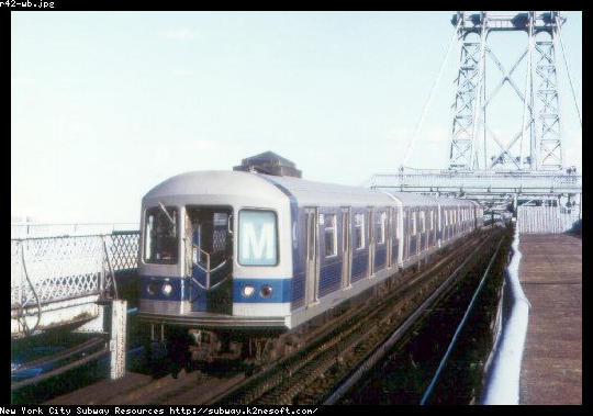 (38k, 540x379)<br><b>Country:</b> United States<br><b>City:</b> New York<br><b>System:</b> New York City Transit<br><b>Line:</b> BMT Nassau Street/Jamaica Line<br><b>Location:</b> Williamsburg Bridge<br><b>Route:</b> M<br><b>Car:</b> R-42 (St. Louis, 1969-1970)   <br><b>Collection of:</b> Jason R. DeCesare<br><b>Date:</b> 1972<br><b>Viewed (this week/total):</b> 3 / 4744