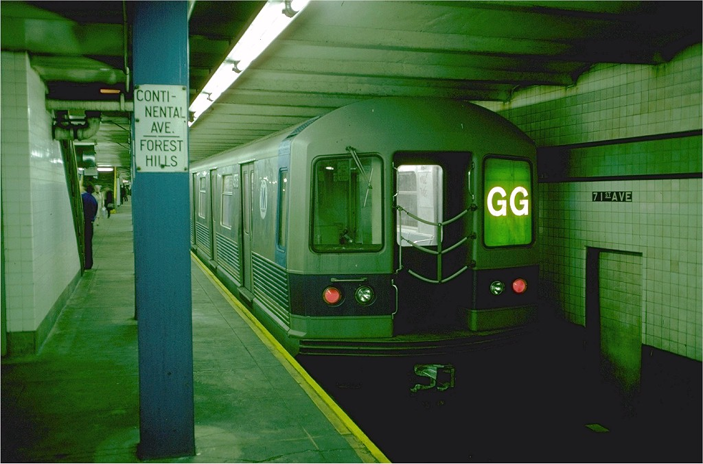 (175k, 1024x676)<br><b>Country:</b> United States<br><b>City:</b> New York<br><b>System:</b> New York City Transit<br><b>Line:</b> IND Queens Boulevard Line<br><b>Location:</b> 71st/Continental Aves./Forest Hills <br><b>Route:</b> GG<br><b>Car:</b> R-42 (St. Louis, 1969-1970)  4573 <br><b>Photo by:</b> Doug Grotjahn<br><b>Collection of:</b> Joe Testagrose<br><b>Date:</b> 10/22/1976<br><b>Viewed (this week/total):</b> 7 / 4321