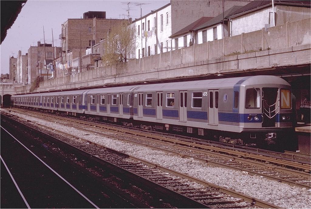 (263k, 1024x689)<br><b>Country:</b> United States<br><b>City:</b> New York<br><b>System:</b> New York City Transit<br><b>Line:</b> BMT Sea Beach Line<br><b>Location:</b> Bay Parkway (22nd Avenue) <br><b>Route:</b> N<br><b>Car:</b> R-42 (St. Louis, 1969-1970)  4575 <br><b>Photo by:</b> Joe Testagrose<br><b>Date:</b> 4/19/1970<br><b>Viewed (this week/total):</b> 0 / 3642