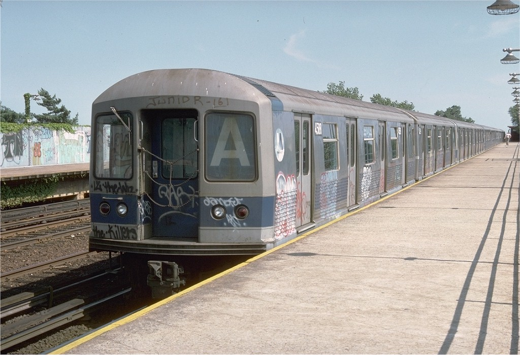 (199k, 1024x699)<br><b>Country:</b> United States<br><b>City:</b> New York<br><b>System:</b> New York City Transit<br><b>Line:</b> IND Rockaway<br><b>Location:</b> Aqueduct/North Conduit Avenue <br><b>Route:</b> A<br><b>Car:</b> R-42 (St. Louis, 1969-1970)  4588 <br><b>Photo by:</b> Doug Grotjahn<br><b>Collection of:</b> Joe Testagrose<br><b>Date:</b> 6/29/1977<br><b>Viewed (this week/total):</b> 8 / 5178