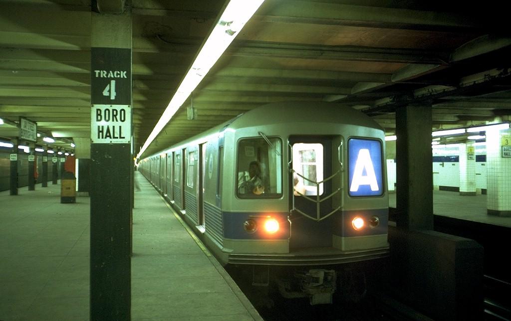 (153k, 1024x644)<br><b>Country:</b> United States<br><b>City:</b> New York<br><b>System:</b> New York City Transit<br><b>Line:</b> IND 8th Avenue Line<br><b>Location:</b> Jay St./Metrotech (Borough Hall) <br><b>Route:</b> A<br><b>Car:</b> R-42 (St. Louis, 1969-1970)  4608 <br><b>Photo by:</b> Doug Grotjahn<br><b>Collection of:</b> Joe Testagrose<br><b>Date:</b> 7/19/1969<br><b>Viewed (this week/total):</b> 0 / 5410
