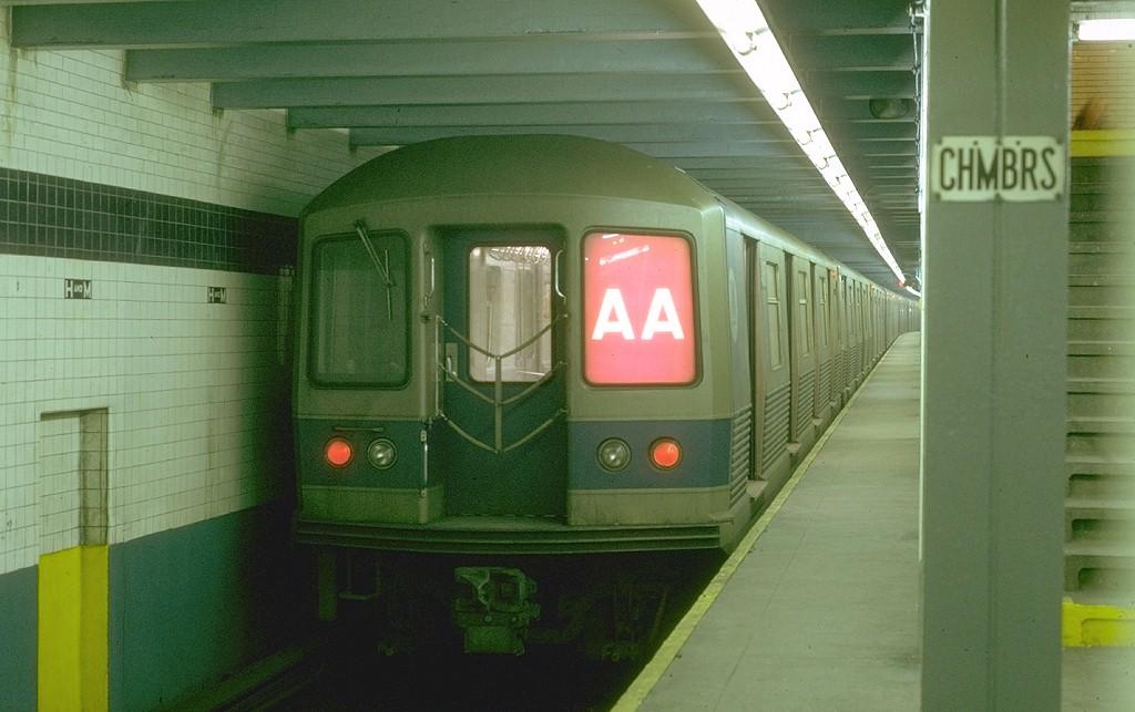 (157k, 1024x643)<br><b>Country:</b> United States<br><b>City:</b> New York<br><b>System:</b> New York City Transit<br><b>Line:</b> IND 8th Avenue Line<br><b>Location:</b> Chambers Street/World Trade Center <br><b>Route:</b> AA<br><b>Car:</b> R-42 (St. Louis, 1969-1970)  4618 <br><b>Photo by:</b> Joe Testagrose<br><b>Date:</b> 1/30/1970<br><b>Viewed (this week/total):</b> 1 / 3835