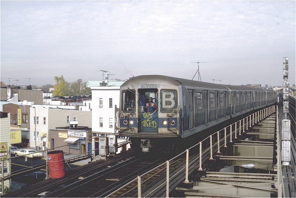 (224k, 1024x685)<br><b>Country:</b> United States<br><b>City:</b> New York<br><b>System:</b> New York City Transit<br><b>Line:</b> BMT West End Line<br><b>Location:</b> 62nd Street <br><b>Route:</b> B<br><b>Car:</b> R-42 (St. Louis, 1969-1970)  4639 <br><b>Photo by:</b> Steve Zabel<br><b>Collection of:</b> Joe Testagrose<br><b>Date:</b> 11/5/1981<br><b>Viewed (this week/total):</b> 1 / 3683
