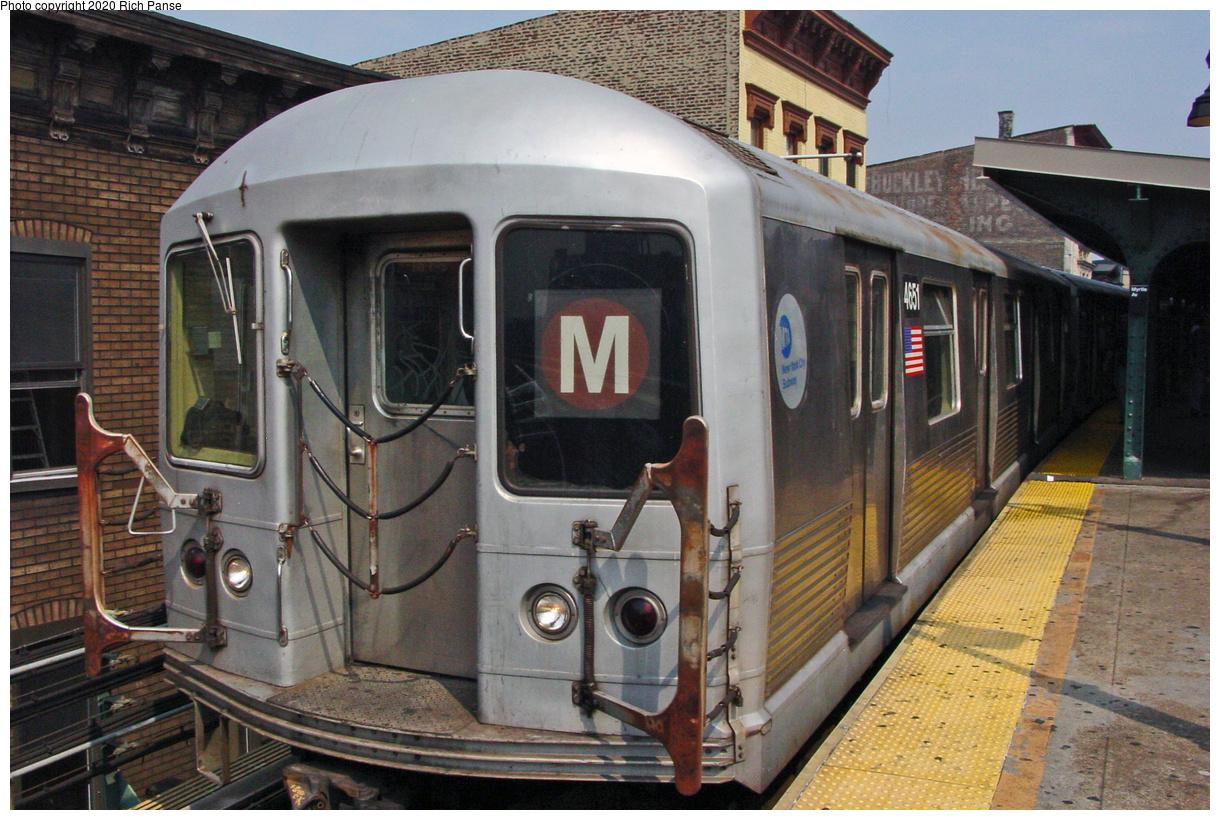 (70k, 820x620)<br><b>Country:</b> United States<br><b>City:</b> New York<br><b>System:</b> New York City Transit<br><b>Line:</b> BMT Nassau Street/Jamaica Line<br><b>Location:</b> Myrtle Avenue <br><b>Route:</b> M<br><b>Car:</b> R-42 (St. Louis, 1969-1970)  4651 <br><b>Photo by:</b> Richard Panse<br><b>Date:</b> 7/9/2002<br><b>Viewed (this week/total):</b> 0 / 4850