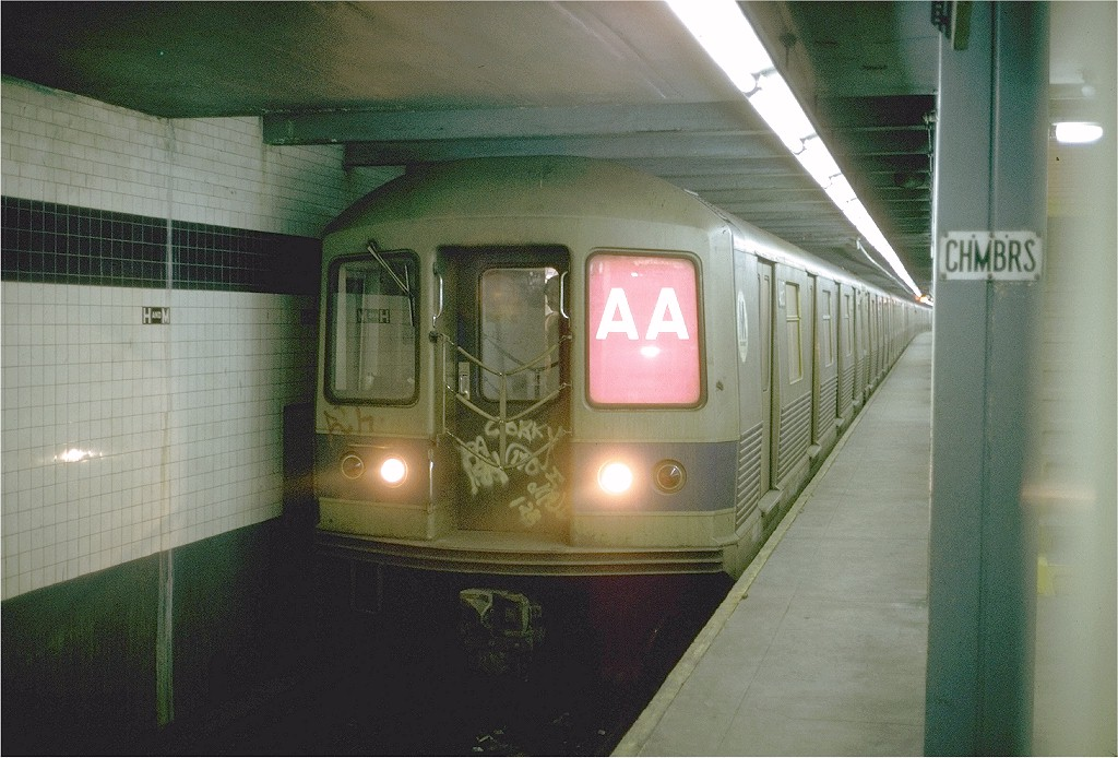 (197k, 1024x694)<br><b>Country:</b> United States<br><b>City:</b> New York<br><b>System:</b> New York City Transit<br><b>Line:</b> IND 8th Avenue Line<br><b>Location:</b> Chambers Street/World Trade Center <br><b>Route:</b> AA<br><b>Car:</b> R-42 (St. Louis, 1969-1970)  4655 <br><b>Photo by:</b> Steve Zabel<br><b>Collection of:</b> Joe Testagrose<br><b>Date:</b> 3/23/1974<br><b>Viewed (this week/total):</b> 13 / 4439