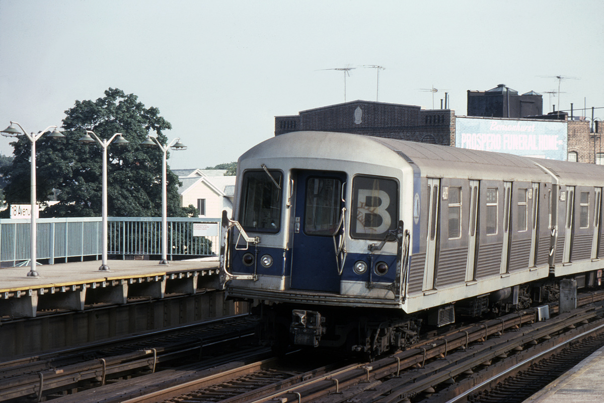 (382k, 1024x688)<br><b>Country:</b> United States<br><b>City:</b> New York<br><b>System:</b> New York City Transit<br><b>Line:</b> BMT West End Line<br><b>Location:</b> 18th Avenue <br><b>Route:</b> B<br><b>Car:</b> R-42 (St. Louis, 1969-1970)  4609 <br><b>Photo by:</b> Steve Hoskins<br><b>Collection of:</b> David Pirmann<br><b>Date:</b> 8/1979<br><b>Viewed (this week/total):</b> 1 / 4212
