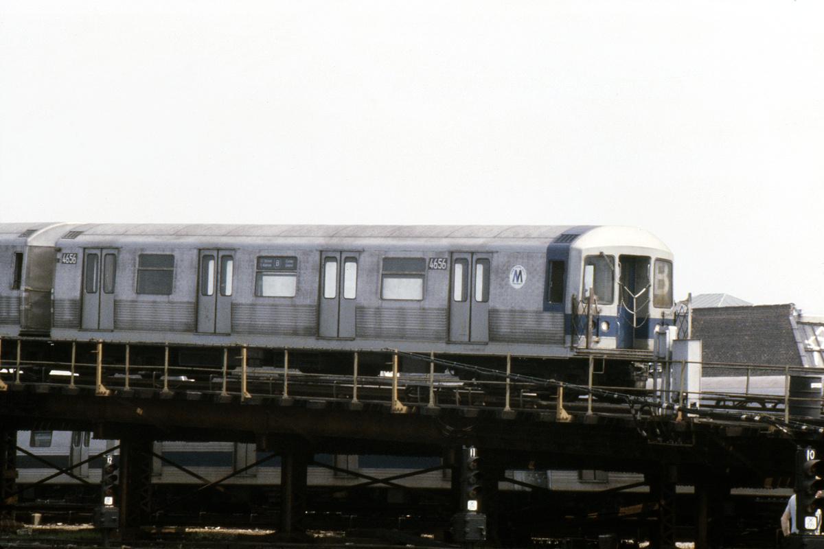 (334k, 1024x683)<br><b>Country:</b> United States<br><b>City:</b> New York<br><b>System:</b> New York City Transit<br><b>Location:</b> Coney Island Yard<br><b>Car:</b> R-42 (St. Louis, 1969-1970)  4656 <br><b>Photo by:</b> Steve Hoskins<br><b>Collection of:</b> David Pirmann<br><b>Date:</b> 8/1979<br><b>Viewed (this week/total):</b> 0 / 3943