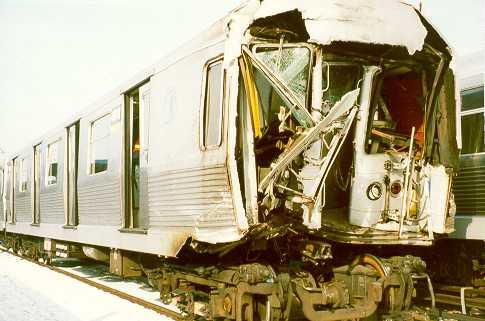 (25k, 485x321)<br><b>Country:</b> United States<br><b>City:</b> New York<br><b>System:</b> New York City Transit<br><b>Location:</b> East New York Yard/Shops<br><b>Car:</b> R-42 (St. Louis, 1969-1970)  4664 <br><b>Photo by:</b> Trevor Logan<br><b>Notes:</b> 1995 Williamsburg Bridge accident<br><b>Viewed (this week/total):</b> 4 / 25190