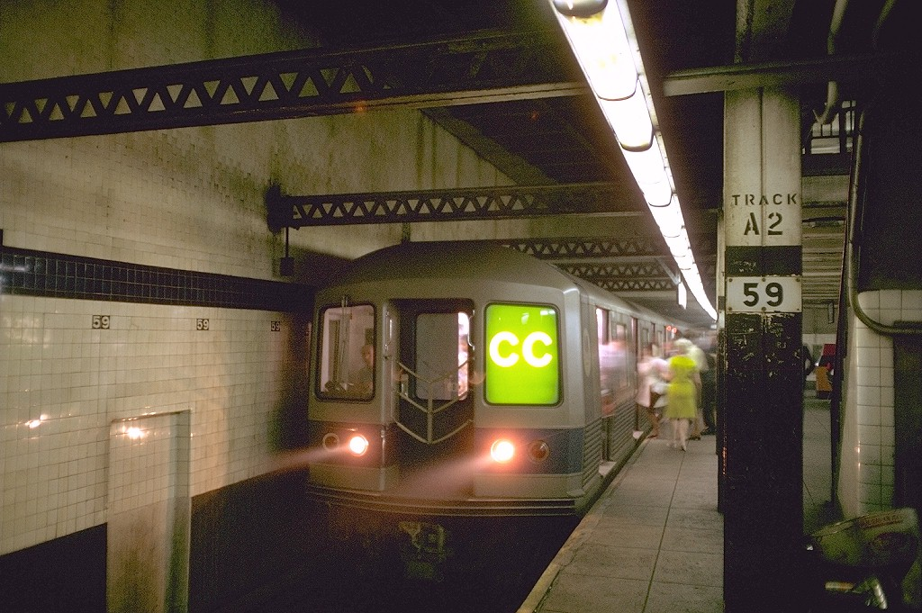 (226k, 1024x681)<br><b>Country:</b> United States<br><b>City:</b> New York<br><b>System:</b> New York City Transit<br><b>Line:</b> IND 8th Avenue Line<br><b>Location:</b> 59th Street/Columbus Circle <br><b>Route:</b> CC<br><b>Car:</b> R-42 (St. Louis, 1969-1970)  4665 <br><b>Photo by:</b> Doug Grotjahn<br><b>Collection of:</b> Joe Testagrose<br><b>Date:</b> 8/5/1969<br><b>Viewed (this week/total):</b> 1 / 5427