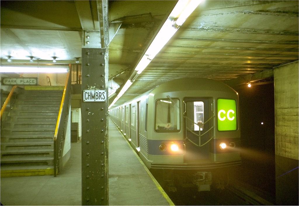 (222k, 1024x706)<br><b>Country:</b> United States<br><b>City:</b> New York<br><b>System:</b> New York City Transit<br><b>Line:</b> IND 8th Avenue Line<br><b>Location:</b> Chambers Street/World Trade Center <br><b>Route:</b> CC<br><b>Car:</b> R-42 (St. Louis, 1969-1970)  4759 <br><b>Photo by:</b> Doug Grotjahn<br><b>Collection of:</b> Joe Testagrose<br><b>Date:</b> 8/4/1969<br><b>Viewed (this week/total):</b> 5 / 4819