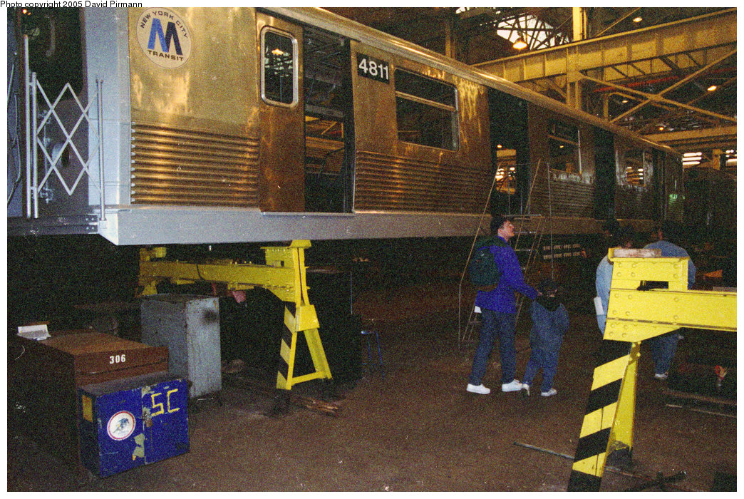 (341k, 1044x700)<br><b>Country:</b> United States<br><b>City:</b> New York<br><b>System:</b> New York City Transit<br><b>Location:</b> Coney Island Shop/Overhaul & Repair Shop<br><b>Car:</b> R-42 (St. Louis, 1969-1970)  4811 <br><b>Photo by:</b> David Pirmann<br><b>Date:</b> 2/24/1996<br><b>Notes:</b> R42 4811 up on the blocks<br><b>Viewed (this week/total):</b> 1 / 3640