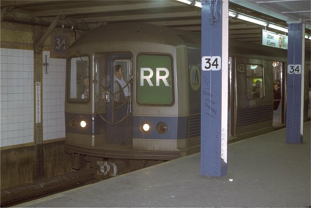 (196k, 1024x688)<br><b>Country:</b> United States<br><b>City:</b> New York<br><b>System:</b> New York City Transit<br><b>Line:</b> BMT Broadway Line<br><b>Location:</b> 34th Street/Herald Square <br><b>Route:</b> RR<br><b>Car:</b> R-42 (St. Louis, 1969-1970)  4836 <br><b>Photo by:</b> Joe Testagrose<br><b>Date:</b> 3/17/1971<br><b>Viewed (this week/total):</b> 0 / 4652