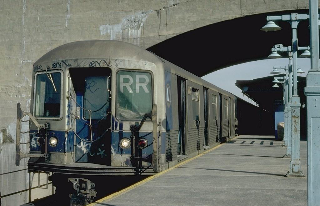 (194k, 1024x659)<br><b>Country:</b> United States<br><b>City:</b> New York<br><b>System:</b> New York City Transit<br><b>Line:</b> BMT Astoria Line<br><b>Location:</b> Ditmars Boulevard <br><b>Route:</b> RR<br><b>Car:</b> R-42 (St. Louis, 1969-1970)  4842 <br><b>Photo by:</b> Steve Zabel<br><b>Collection of:</b> Joe Testagrose<br><b>Date:</b> 2/11/1982<br><b>Viewed (this week/total):</b> 6 / 5173