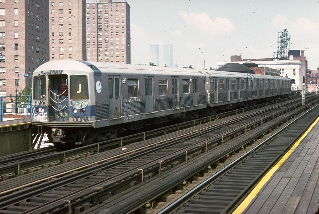 (253k, 1024x688)<br><b>Country:</b> United States<br><b>City:</b> New York<br><b>System:</b> New York City Transit<br><b>Line:</b> BMT Nassau Street/Jamaica Line<br><b>Location:</b> Marcy Avenue <br><b>Route:</b> J<br><b>Car:</b> R-42 (St. Louis, 1969-1970)  4865 <br><b>Photo by:</b> Doug Grotjahn<br><b>Collection of:</b> Joe Testagrose<br><b>Date:</b> 6/27/1977<br><b>Viewed (this week/total):</b> 0 / 4314