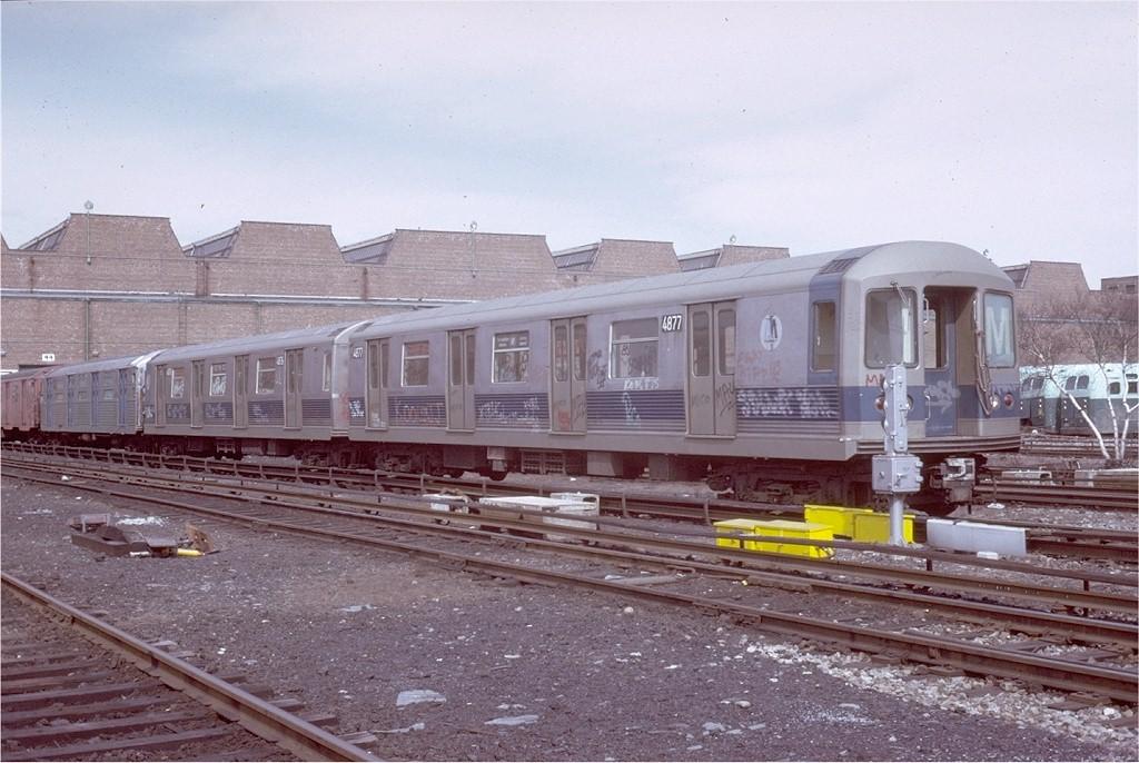 (200k, 1024x686)<br><b>Country:</b> United States<br><b>City:</b> New York<br><b>System:</b> New York City Transit<br><b>Location:</b> Coney Island Yard<br><b>Car:</b> R-42 (St. Louis, 1969-1970)  4877 <br><b>Photo by:</b> Steve Zabel<br><b>Collection of:</b> Joe Testagrose<br><b>Date:</b> 3/9/1973<br><b>Viewed (this week/total):</b> 1 / 2957