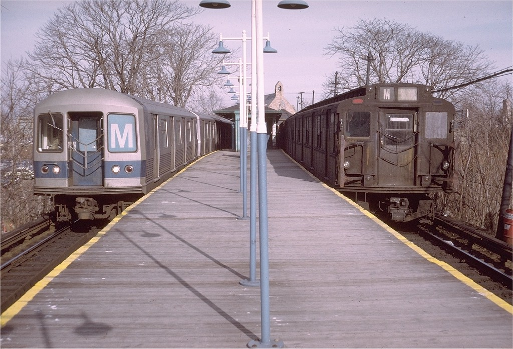 (238k, 1024x697)<br><b>Country:</b> United States<br><b>City:</b> New York<br><b>System:</b> New York City Transit<br><b>Line:</b> BMT Myrtle Avenue Line<br><b>Location:</b> Metropolitan Avenue <br><b>Route:</b> M<br><b>Car:</b> R-42 (St. Louis, 1969-1970)  4892 <br><b>Photo by:</b> Doug Grotjahn<br><b>Collection of:</b> Joe Testagrose<br><b>Date:</b> 12/29/1972<br><b>Notes:</b> With R7 1657<br><b>Viewed (this week/total):</b> 0 / 5061