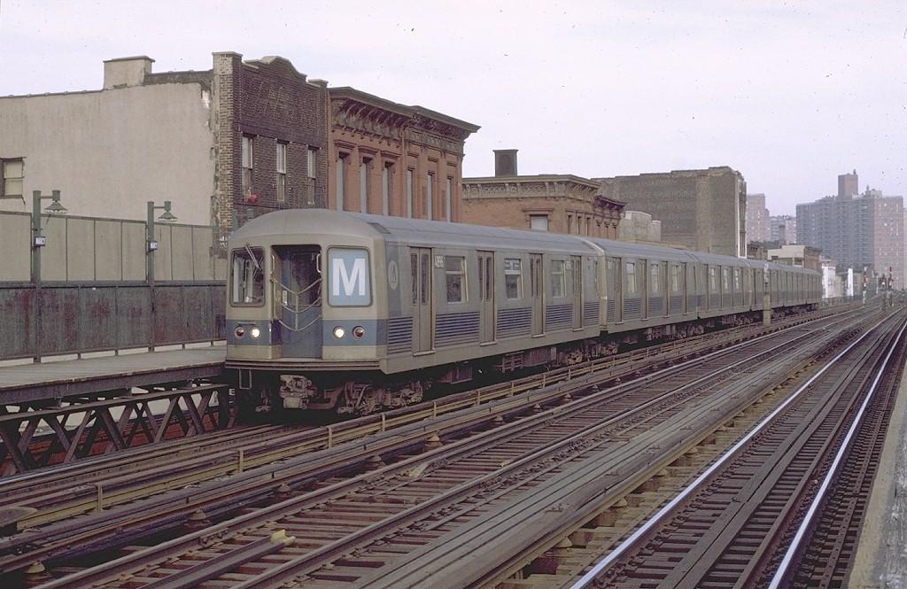 (214k, 1024x665)<br><b>Country:</b> United States<br><b>City:</b> New York<br><b>System:</b> New York City Transit<br><b>Line:</b> BMT Nassau Street/Jamaica Line<br><b>Location:</b> Marcy Avenue <br><b>Route:</b> M<br><b>Car:</b> R-42 (St. Louis, 1969-1970)  4896 <br><b>Photo by:</b> Joe Testagrose<br><b>Date:</b> 4/9/1971<br><b>Viewed (this week/total):</b> 2 / 2927