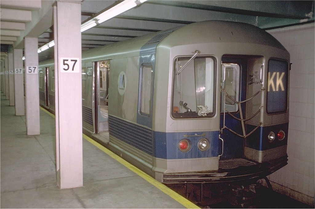 (177k, 1024x681)<br><b>Country:</b> United States<br><b>City:</b> New York<br><b>System:</b> New York City Transit<br><b>Line:</b> IND 6th Avenue Line<br><b>Location:</b> 57th Street <br><b>Route:</b> KK<br><b>Car:</b> R-42 (St. Louis, 1969-1970)  4897 <br><b>Photo by:</b> Doug Grotjahn<br><b>Collection of:</b> Joe Testagrose<br><b>Date:</b> 12/22/1972<br><b>Viewed (this week/total):</b> 0 / 4483