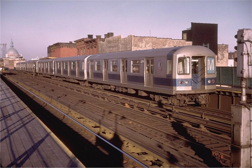 (239k, 1024x684)<br><b>Country:</b> United States<br><b>City:</b> New York<br><b>System:</b> New York City Transit<br><b>Line:</b> BMT Nassau Street/Jamaica Line<br><b>Location:</b> Marcy Avenue <br><b>Route:</b> M<br><b>Car:</b> R-42 (St. Louis, 1969-1970)  4899 <br><b>Photo by:</b> Doug Grotjahn<br><b>Collection of:</b> Joe Testagrose<br><b>Date:</b> 12/29/1972<br><b>Viewed (this week/total):</b> 2 / 2885