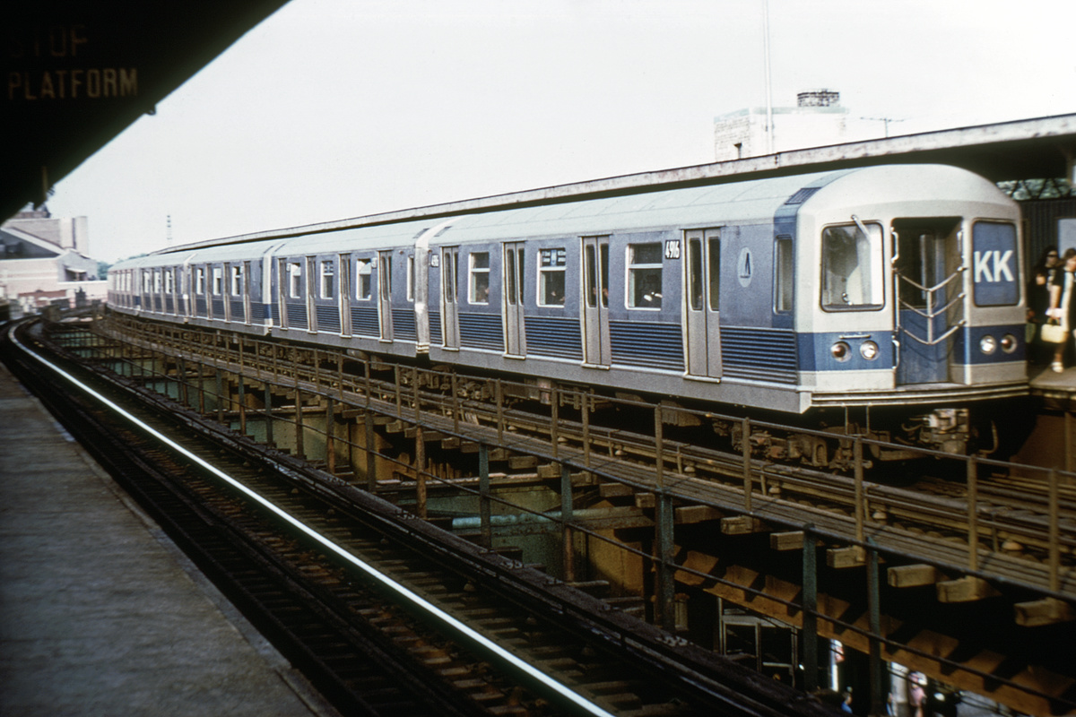 (304k, 1024x683)<br><b>Country:</b> United States<br><b>City:</b> New York<br><b>System:</b> New York City Transit<br><b>Line:</b> BMT Nassau Street/Jamaica Line<br><b>Location:</b> Woodhaven Boulevard <br><b>Route:</b> KK<br><b>Car:</b> R-42 (St. Louis, 1969-1970)  4916 <br><b>Photo by:</b> Doug Grotjahn<br><b>Collection of:</b> David Pirmann<br><b>Date:</b> 6/28/1972<br><b>Viewed (this week/total):</b> 2 / 4511