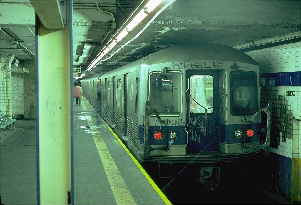 (217k, 1024x699)<br><b>Country:</b> United States<br><b>City:</b> New York<br><b>System:</b> New York City Transit<br><b>Line:</b> BMT Canarsie Line<br><b>Location:</b> 8th Avenue <br><b>Route:</b> L<br><b>Car:</b> R-42 (St. Louis, 1969-1970)  4926 <br><b>Photo by:</b> Steve Zabel<br><b>Collection of:</b> Joe Testagrose<br><b>Date:</b> 5/31/1982<br><b>Viewed (this week/total):</b> 3 / 4838