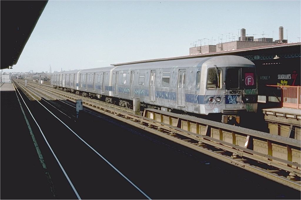 (150k, 1024x681)<br><b>Country:</b> United States<br><b>City:</b> New York<br><b>System:</b> New York City Transit<br><b>Line:</b> BMT Culver Line<br><b>Location:</b> Avenue P <br><b>Route:</b> F<br><b>Car:</b> R-44 (St. Louis, 1971-73) 108 <br><b>Photo by:</b> Doug Grotjahn<br><b>Collection of:</b> Joe Testagrose<br><b>Date:</b> 4/9/1977<br><b>Viewed (this week/total):</b> 0 / 4421