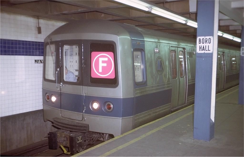 (148k, 1024x659)<br><b>Country:</b> United States<br><b>City:</b> New York<br><b>System:</b> New York City Transit<br><b>Line:</b> IND 8th Avenue Line<br><b>Location:</b> Jay St./Metrotech (Borough Hall) <br><b>Route:</b> F<br><b>Car:</b> R-44 (St. Louis, 1971-73) 110 <br><b>Photo by:</b> Doug Grotjahn<br><b>Collection of:</b> Joe Testagrose<br><b>Date:</b> 12/27/1971<br><b>Viewed (this week/total):</b> 0 / 4144