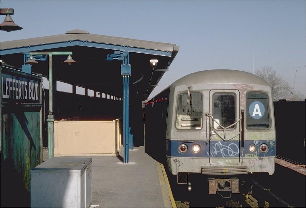 (162k, 1024x695)<br><b>Country:</b> United States<br><b>City:</b> New York<br><b>System:</b> New York City Transit<br><b>Line:</b> IND Fulton Street Line<br><b>Location:</b> Lefferts Boulevard <br><b>Route:</b> A<br><b>Car:</b> R-44 (St. Louis, 1971-73) 126 <br><b>Photo by:</b> Steve Zabel<br><b>Collection of:</b> Joe Testagrose<br><b>Date:</b> 4/5/1982<br><b>Viewed (this week/total):</b> 1 / 6784