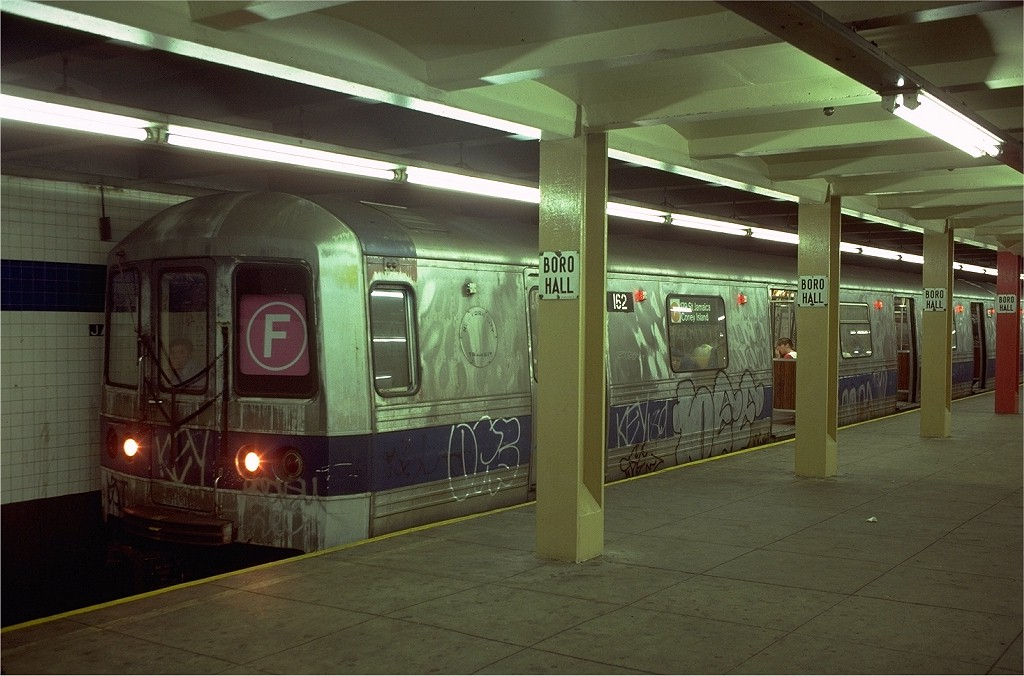 (179k, 1024x676)<br><b>Country:</b> United States<br><b>City:</b> New York<br><b>System:</b> New York City Transit<br><b>Line:</b> IND 8th Avenue Line<br><b>Location:</b> Jay St./Metrotech (Borough Hall) <br><b>Route:</b> F<br><b>Car:</b> R-44 (St. Louis, 1971-73) 162 <br><b>Collection of:</b> Joe Testagrose<br><b>Date:</b> 8/15/1980<br><b>Viewed (this week/total):</b> 15 / 6606