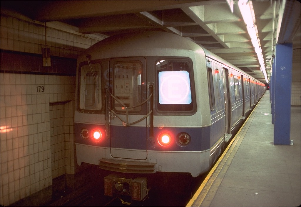 (168k, 1024x702)<br><b>Country:</b> United States<br><b>City:</b> New York<br><b>System:</b> New York City Transit<br><b>Line:</b> IND Queens Boulevard Line<br><b>Location:</b> 179th Street <br><b>Route:</b> E<br><b>Car:</b> R-44 (St. Louis, 1971-73) 244 <br><b>Photo by:</b> Doug Grotjahn<br><b>Collection of:</b> Joe Testagrose<br><b>Date:</b> 5/28/1977<br><b>Viewed (this week/total):</b> 6 / 6642