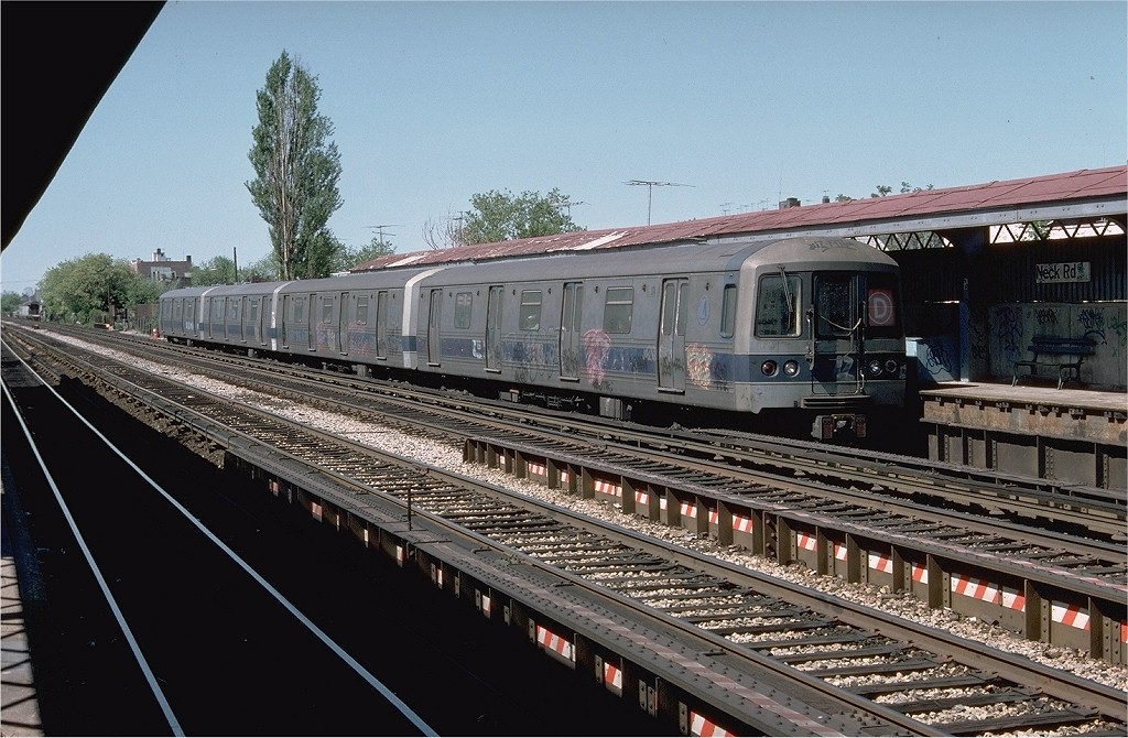 (225k, 1024x670)<br><b>Country:</b> United States<br><b>City:</b> New York<br><b>System:</b> New York City Transit<br><b>Line:</b> BMT Brighton Line<br><b>Location:</b> Neck Road <br><b>Route:</b> D<br><b>Car:</b> R-44 (St. Louis, 1971-73) 374 <br><b>Photo by:</b> Doug Grotjahn<br><b>Collection of:</b> Joe Testagrose<br><b>Date:</b> 5/15/1977<br><b>Viewed (this week/total):</b> 3 / 5749