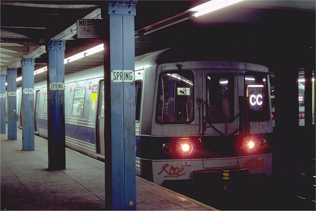 (165k, 1024x684)<br><b>Country:</b> United States<br><b>City:</b> New York<br><b>System:</b> New York City Transit<br><b>Line:</b> IND 8th Avenue Line<br><b>Location:</b> Spring Street <br><b>Route:</b> CC<br><b>Car:</b> R-46 (Pullman-Standard, 1974-75) 1002 <br><b>Photo by:</b> Steve Zabel<br><b>Collection of:</b> Joe Testagrose<br><b>Date:</b> 8/21/1980<br><b>Viewed (this week/total):</b> 3 / 8223