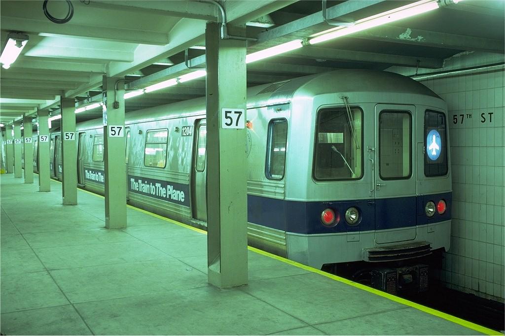 (194k, 1024x682)<br><b>Country:</b> United States<br><b>City:</b> New York<br><b>System:</b> New York City Transit<br><b>Line:</b> IND 6th Avenue Line<br><b>Location:</b> 57th Street <br><b>Route:</b> JFK<br><b>Car:</b> R-46 (Pullman-Standard, 1974-75) 1204 <br><b>Photo by:</b> Doug Grotjahn<br><b>Collection of:</b> Joe Testagrose<br><b>Date:</b> 11/18/1979<br><b>Viewed (this week/total):</b> 7 / 6443