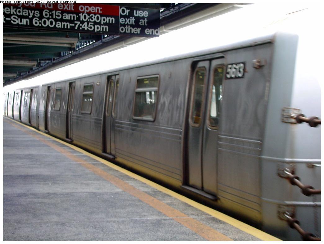 (97k, 1044x788)<br><b>Country:</b> United States<br><b>City:</b> New York<br><b>System:</b> New York City Transit<br><b>Line:</b> BMT Culver Line<br><b>Location:</b> Ditmas Avenue <br><b>Route:</b> F<br><b>Car:</b> R-46 (Pullman-Standard, 1974-75) 5613 <br><b>Photo by:</b> David Pirmann<br><b>Date:</b> 8/27/2000<br><b>Viewed (this week/total):</b> 1 / 3341