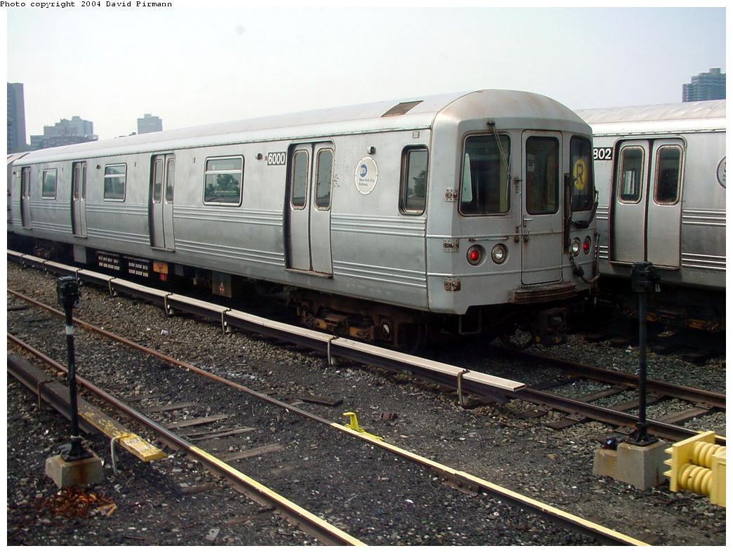 (145k, 1044x788)<br><b>Country:</b> United States<br><b>City:</b> New York<br><b>System:</b> New York City Transit<br><b>Location:</b> Jamaica Yard/Shops<br><b>Car:</b> R-46 (Pullman-Standard, 1974-75) 6000 <br><b>Photo by:</b> David Pirmann<br><b>Date:</b> 8/27/2000<br><b>Viewed (this week/total):</b> 1 / 6335