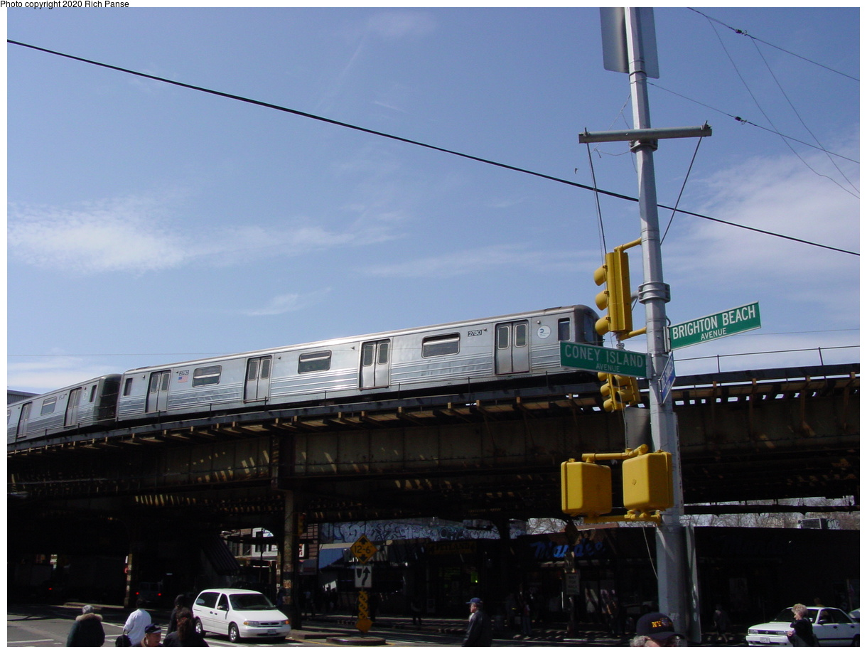 (59k, 820x620)<br><b>Country:</b> United States<br><b>City:</b> New York<br><b>System:</b> New York City Transit<br><b>Line:</b> BMT Brighton Line<br><b>Location:</b> Brighton Beach <br><b>Route:</b> Q<br><b>Car:</b> R-68 (Westinghouse-Amrail, 1986-1988)  2780 <br><b>Photo by:</b> Richard Panse<br><b>Date:</b> 4/9/2002<br><b>Viewed (this week/total):</b> 0 / 5357