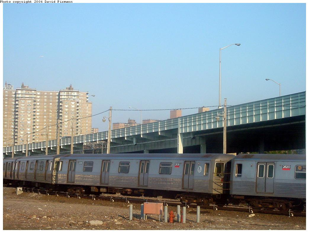 (117k, 1044x788)<br><b>Country:</b> United States<br><b>City:</b> New York<br><b>System:</b> New York City Transit<br><b>Location:</b> Coney Island Yard<br><b>Route:</b> B<br><b>Car:</b> R-68 (Westinghouse-Amrail, 1986-1988)  2838 <br><b>Photo by:</b> David Pirmann<br><b>Date:</b> 5/31/2000<br><b>Viewed (this week/total):</b> 5 / 4691