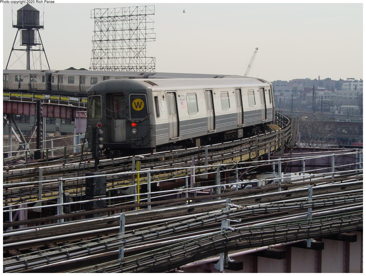 (102k, 820x620)<br><b>Country:</b> United States<br><b>City:</b> New York<br><b>System:</b> New York City Transit<br><b>Line:</b> BMT Astoria Line<br><b>Location:</b> Queensborough Plaza <br><b>Route:</b> N<br><b>Car:</b> R-68A (Kawasaki, 1988-1989)  5004 <br><b>Photo by:</b> Richard Panse<br><b>Date:</b> 3/7/2002<br><b>Viewed (this week/total):</b> 0 / 5135