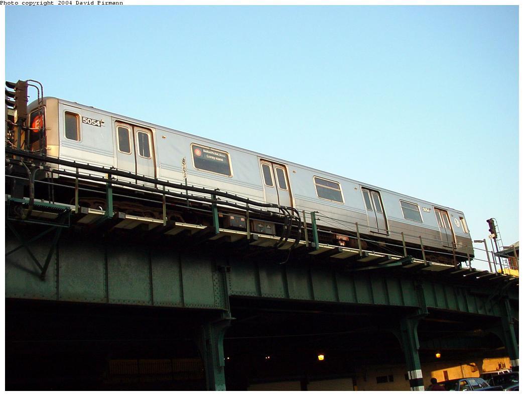 (90k, 1044x788)<br><b>Country:</b> United States<br><b>City:</b> New York<br><b>System:</b> New York City Transit<br><b>Location:</b> Coney Island/Stillwell Avenue<br><b>Route:</b> B<br><b>Car:</b> R-68A (Kawasaki, 1988-1989)  5054 <br><b>Photo by:</b> David Pirmann<br><b>Date:</b> 5/17/2000<br><b>Viewed (this week/total):</b> 2 / 8859