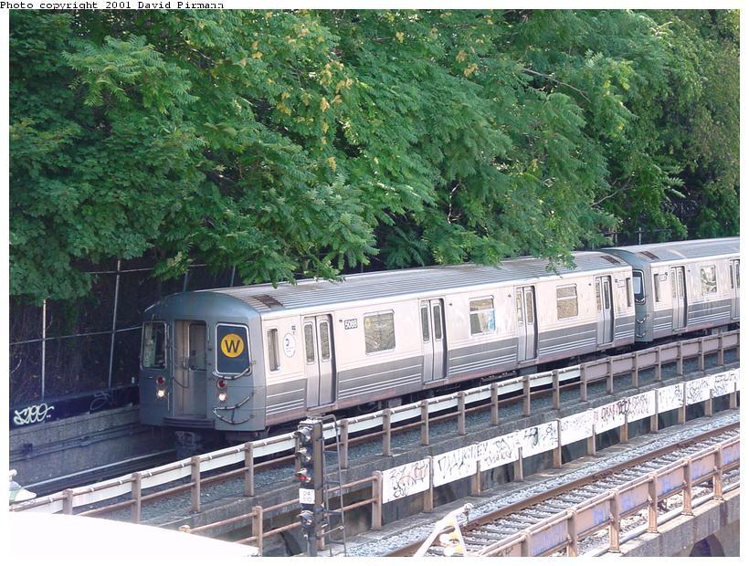 (124k, 820x620)<br><b>Country:</b> United States<br><b>City:</b> New York<br><b>System:</b> New York City Transit<br><b>Line:</b> BMT West End Line<br><b>Location:</b> 9th Avenue <br><b>Route:</b> W<br><b>Car:</b> R-68A (Kawasaki, 1988-1989)  5088 <br><b>Photo by:</b> David Pirmann<br><b>Date:</b> 8/26/2001<br><b>Viewed (this week/total):</b> 0 / 12826