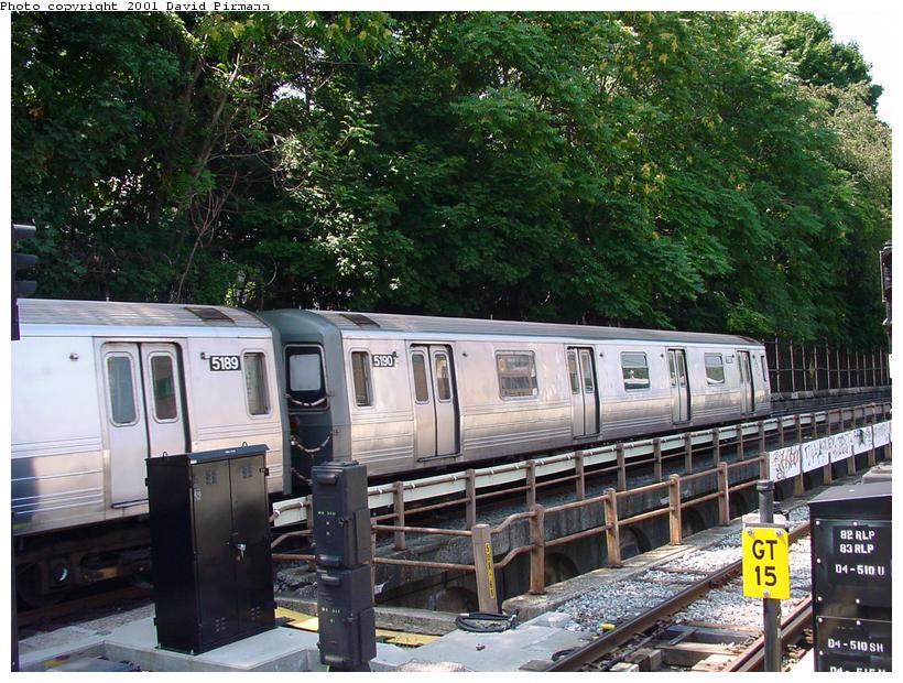 (118k, 820x620)<br><b>Country:</b> United States<br><b>City:</b> New York<br><b>System:</b> New York City Transit<br><b>Line:</b> BMT West End Line<br><b>Location:</b> 9th Avenue <br><b>Route:</b> W<br><b>Car:</b> R-68A (Kawasaki, 1988-1989)  5190 <br><b>Photo by:</b> David Pirmann<br><b>Date:</b> 8/26/2001<br><b>Viewed (this week/total):</b> 2 / 3196